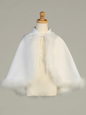 Satin cape with marabou