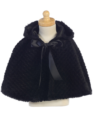 1111 Faux fur cape with hood