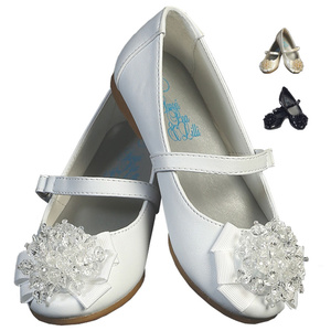 Girl's flat shoes with strap & crystal bead bow