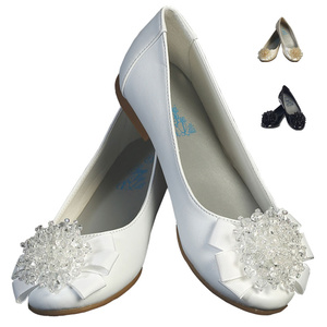 Girl's flat shoes with crystal beads bow