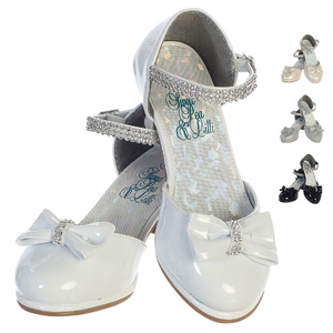 "Girl's shoes with 1 3/4"" heel & rhinestone ankle strap"