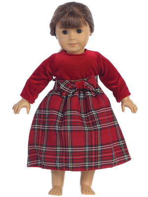 C503 Doll dress - Stretch velvet & Plaid