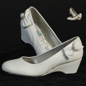 Girl's wedge shoes with side bow