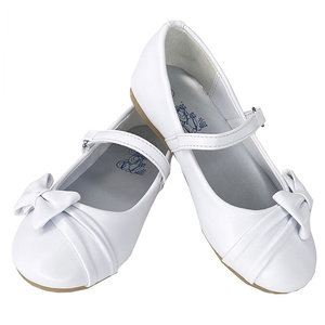 Girl's flat shoes with side bow and strap