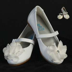 Girl's flat shoes with strap & flower with rhinestone