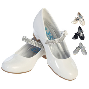 "Girl's shoes with 1"" heel & rhinestone strap"
