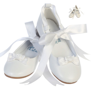Girl's ballerina style flat shoes with satin ribbon & bow accent