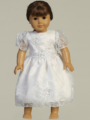 SP171 Doll dress - Embroidered organza with sequins