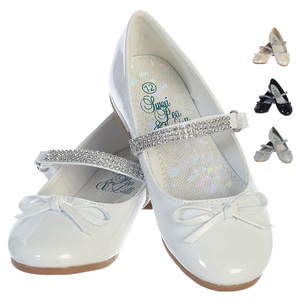 Girl's flat shoes with rhinestone strap & bow accent