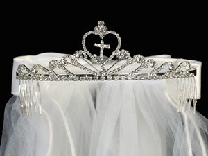 "T-82 - 24"" Veil on Rhinestone Tiara"