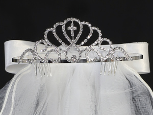 "T-414 - 24"" Veil on Non-Adjustable Rhinestone Tiara"
