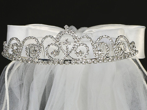 "T-425 - 24"" Veil on Rhinestone Tiara"