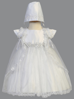 Satin and sparkle tulle dress with silver corded trim and cape