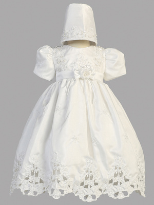Shantung dress with cutwork