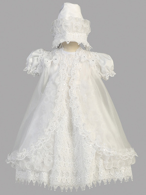 Ruffled dress with organza cape