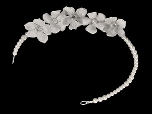 7173 Pearl head piece with flowers