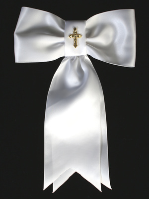 Satin arm band with gold cross