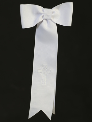 Grosgrain ribbon arm band with embroidered Celtic cross