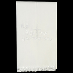 Christening cloth towel with embroidered cross