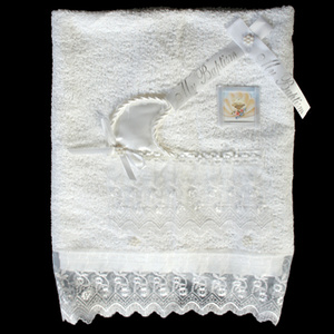 Christening towel with organza trim