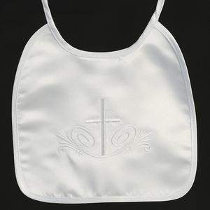 BB-5 Satin bib with embroidered cross