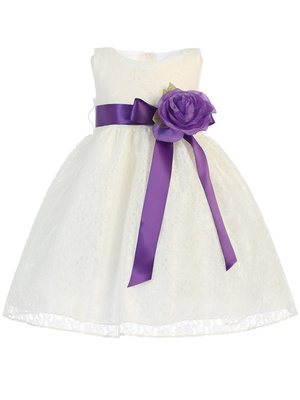 Lace with Satin ribbon sash and flower
