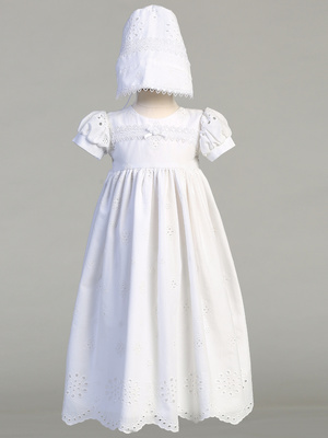 Embroidered cotton eyelet gown