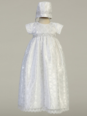 Lace gown with silver embroidered trim
