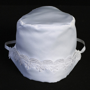 Satin bonnet with lace trim