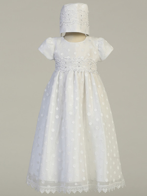 Embroidered polka-dot on tulle gown