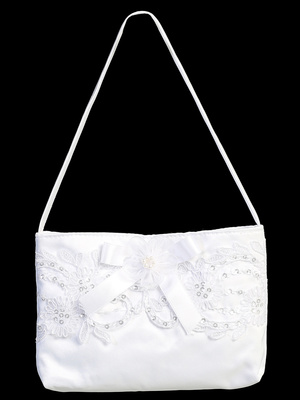 Satin purse with Corded Lace & Bow
