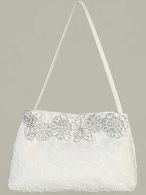 Lace purse with silver floral trim