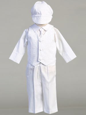 COREY - Embroidered cotton vest & poly cotton pant set