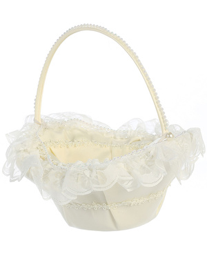 Flower basket with lace trim
