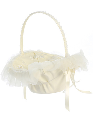 Flower basket with organza trim