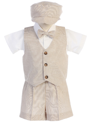 Cotton linen vest and short set