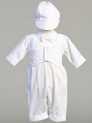 GRAYSON - Embroidered cotton vest with long poly cotton romper set