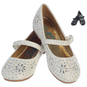 JADE - Girl's flat shoes with strap & beaded floral design