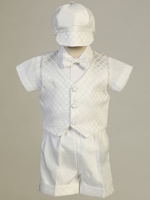 JASPER - Diamond jacquard vest & Shantung short set