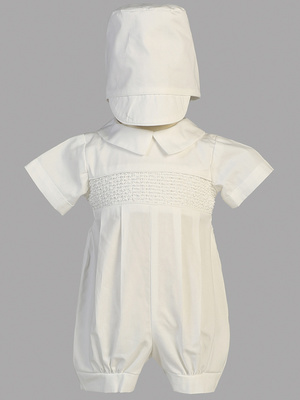 Smocked cotton romper set