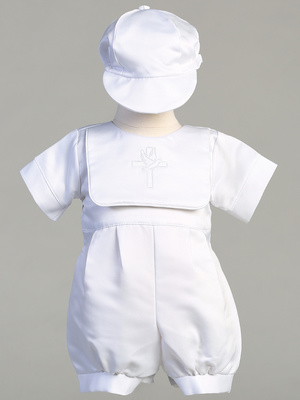 KENNETH - Satin romper with embroidered bib