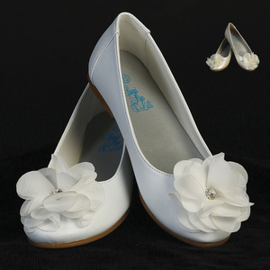 LUCY - Girl's flat shoes with flower and rhinestone accent