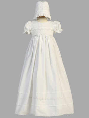 Smocked bodice cotton long gown