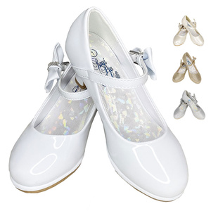 "PEARL - Girl's shoes with 2"" heel & adjustable strap, side bow with rhinestones"