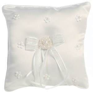 Ring Bearer pillow - satin with pearled flower accents