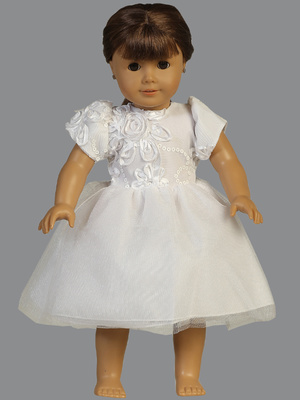SP111 Doll dress - Embroidered tulle with sequins