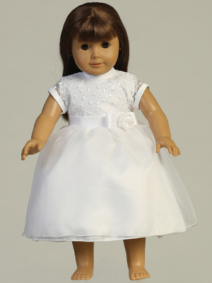 SP169 Doll dress - Embroidered tulle & organza