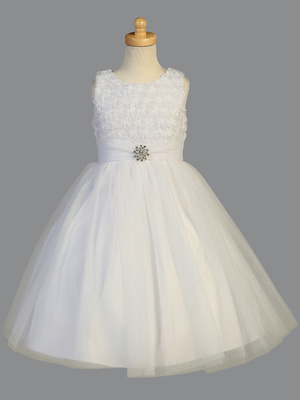 SP705 Beaded rosette on Organza & Glitter tulle