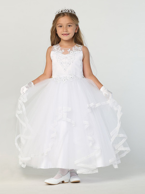 SP707 Satin with applique & ruffled tulle