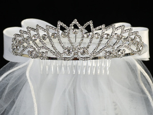 "T-412 - 24"" Veil on Rhinestone Tiara"